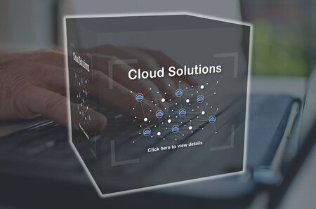 Cloud solutions concept illustrated by a picture on background