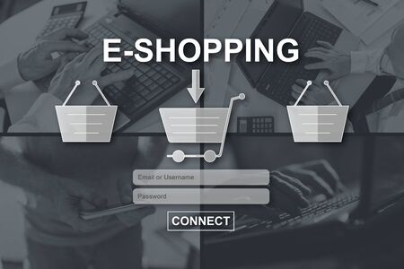 E-shopping concept illustrated by pictures on background