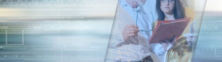 Young businesswoman and senior businessman working together at office, double exposure; panoramic banner Stok Fotoğraf