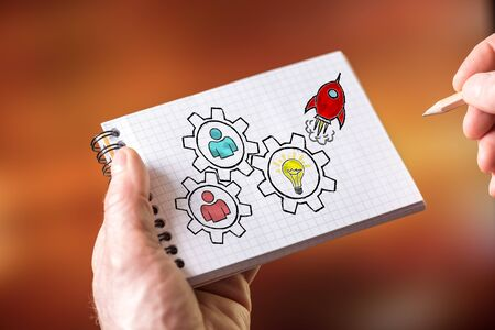 Hand drawing teamwork concept on a notepad