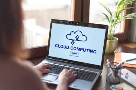 Laptop screen displaying a cloud computing concept
