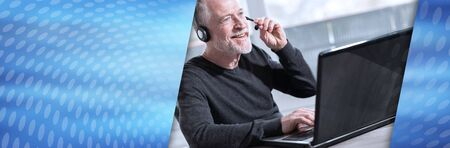 Support phone male operator in headset. panoramic banner Stock Photo