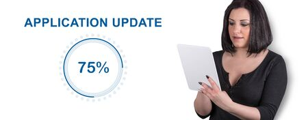Woman using digital tablet with application update concept on background