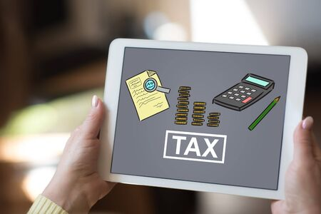 Tablet screen displaying a tax concept