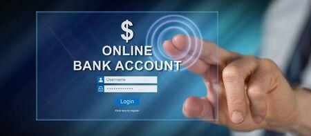 Hombre tocando un sitio web de cuenta bancaria en línea en una pantalla táctil con su dedo