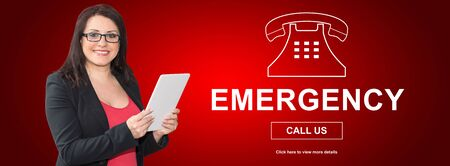 Woman using digital tablet with emergency concept on background