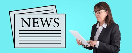 Woman using digital tablet with news concept on background