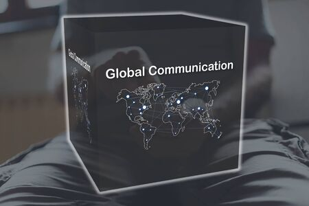 Global communication concept illustrated by a picture on background Stok Fotoğraf