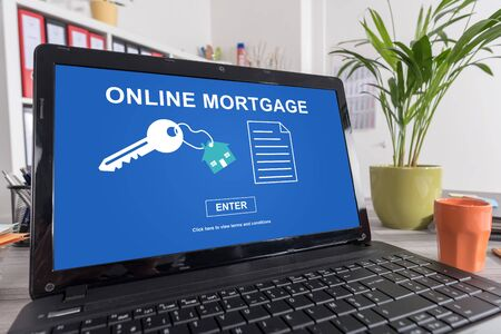 Laptop screen with online mortgage concept