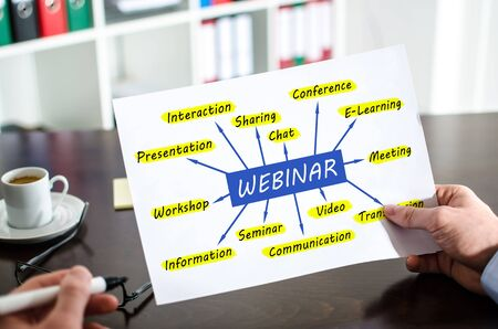 Hand holding a paper showing webinar concept Imagens