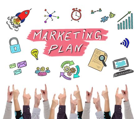 Marketing plan concept on white background pointed by several fingers