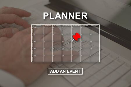 Event adding on planner concept illustrated by a picture on background Imagens