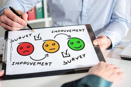 Businessman showing survey concept on a clipboard