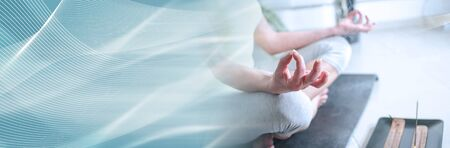 Woman practicing meditation; panoramic banner