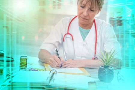Female doctor writing a medical prescription in office; multiple exposure