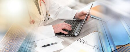 Male doctor using laptop in medical office; multiple exposure