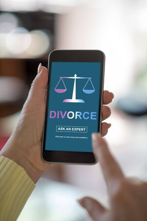 Smartphone screen displaying a divorce advice concept
