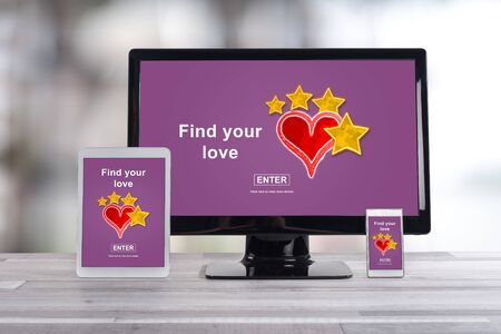 Online dating concept shown on different information technology devices
