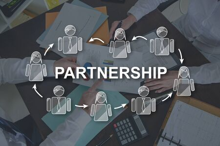 Partnership concept illustrated by a picture on background