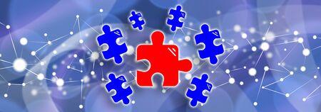 Illustration of a teamwork concept 版權商用圖片