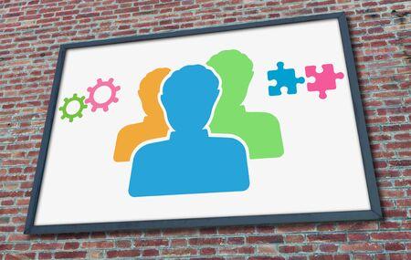 Teamwork concept drawn on a billboard fixed on a brick wall