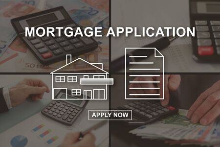 Online mortgage concept illustrated by pictures on background Stok Fotoğraf