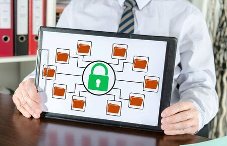 Data protection concept shown by a businessman