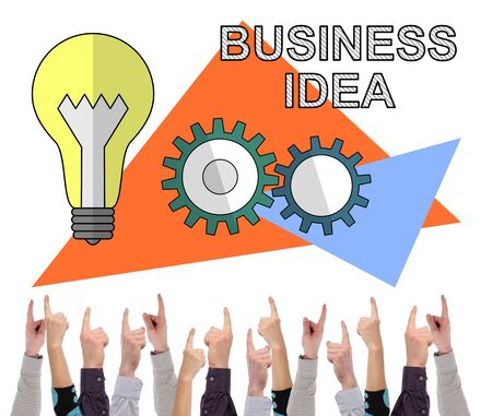 Business idea concept on white background pointed by several fingers Stok Fotoğraf - 129487959