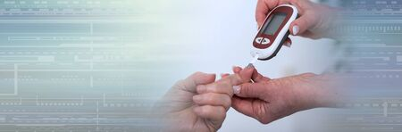 Nurse checking blood sugar level; panoramic banner