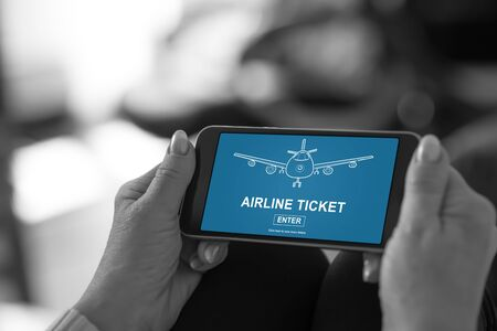 Smartphone screen displaying an airline ticket concept