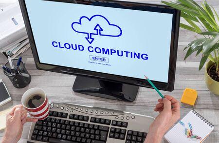Cloud computing concept on a computer screen Stok Fotoğraf