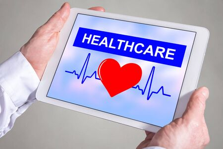 Tablet screen displaying a healthcare concept