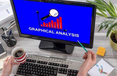 Graphical analysis concept on a computer screen Stok Fotoğraf