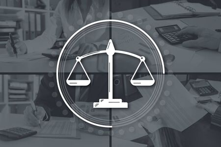 Justice concept illustrated by pictures on background Stok Fotoğraf