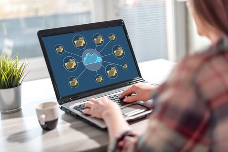 Laptop screen displaying a cloud storage concept