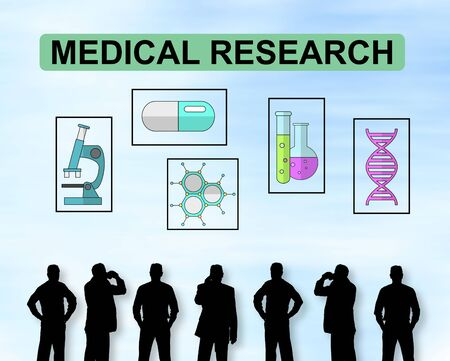 Silhouettes of men looking at a medical research concept