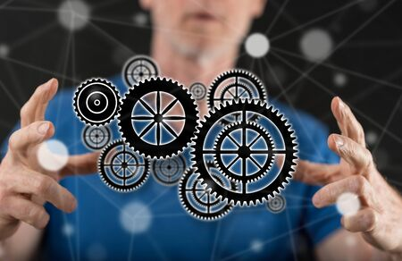 Teamwork concept between hands of a man in background Stok Fotoğraf