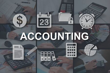 Accounting concept illustrated by pictures on background Stok Fotoğraf