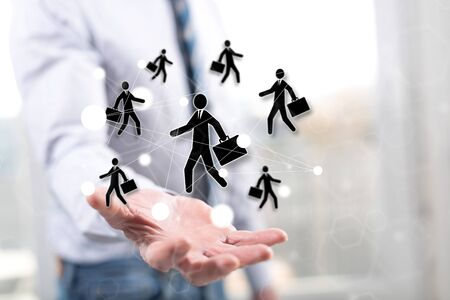 Business relation concept above the hand of a man in background