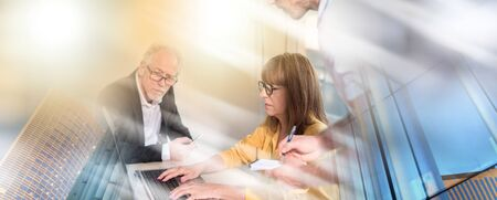Business people working together in office, light effect; multiple exposure Stok Fotoğraf
