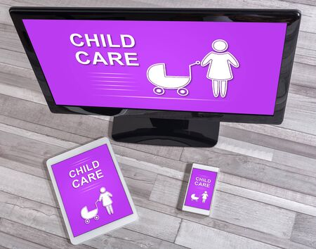 Child care concept shown on different information technology devices