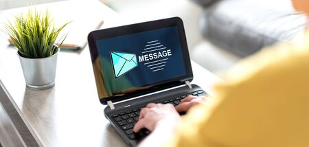 Laptop screen displaying a message concept