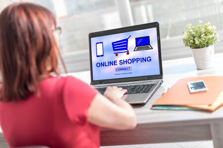 Laptop screen displaying an online shopping concept