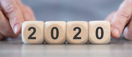 New year 2020 on wooden blocks Stok Fotoğraf
