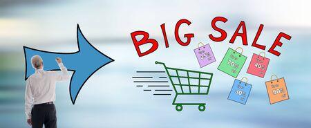Big sale concept drawn by a businessman