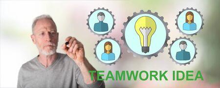 Teamwork idea concept drawn by a man