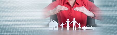 Insurer protecting house, family and car with his hands; panoramic banner Stock fotó