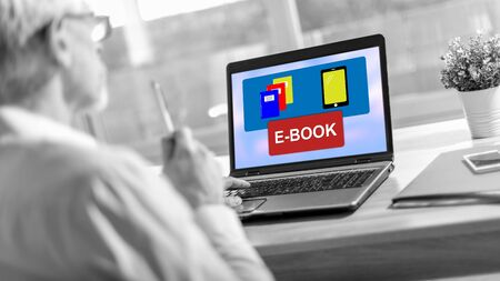 Laptop screen displaying an e-book concept Stok Fotoğraf