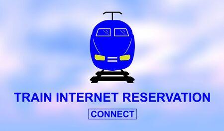 Illustration of a train internet reservation concept 写真素材