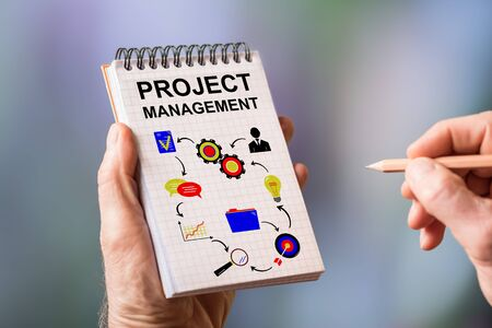 Hand drawing project management concept on a notepad Stok Fotoğraf